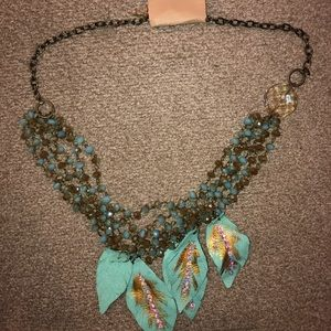Beaded Necklace with Feathers